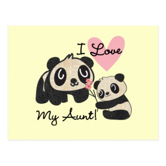 Las pandas I aman a mi tía Tarjetas Postales
