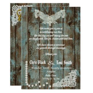 Las perlas rústicas contemporáneas y el boda del invitación 12,7 x 17,8 cm