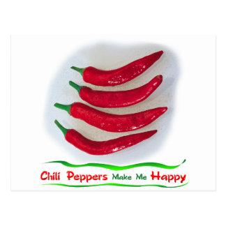 Las pimientas de Chile me hacen feliz Postal