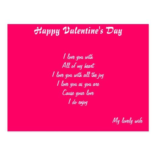 Las postales de la esposa del día de San Valentín