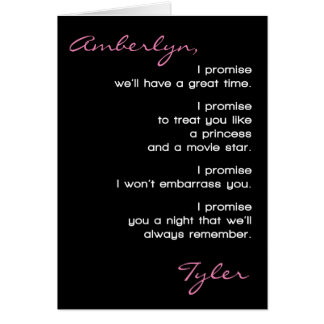Las promesas Promposal de la fecha del baile de Tarjeta De Felicitación