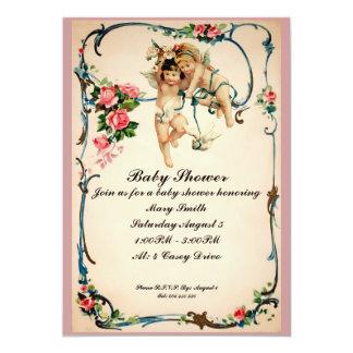 Las querubes con la fiesta de bienvenida al bebé invitación 12,7 x 17,8 cm