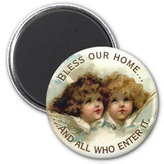 Las querubes del vintage bendicen nuestro hogar imanes