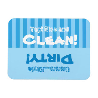 Las rayas azules limpian o el lavaplatos sucio imán