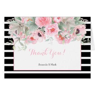 Las rayas rosadas de las flores de la primavera de tarjeta pequeña