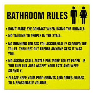 Las reglas del cuarto de baño no hacen el contacto póster