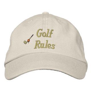 Las reglas del golf bordaron el gorra gorra de béisbol bordada