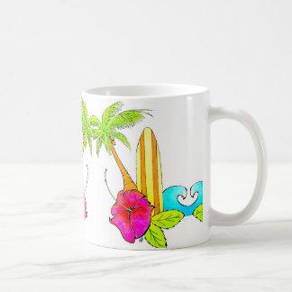 Las resacas suben sensación tropical clásica de la taza de café