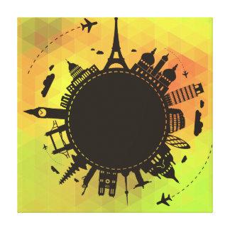 Las señales del mundo del viaje refrescan el impresión en lienzo