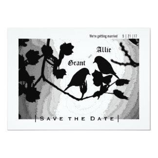 Las siluetas elegantes de los pájaros del amor invitación 12,7 x 17,8 cm