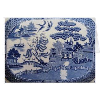 Las tarjetas de felicitación azules del sauce trae
