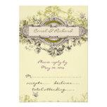 Las tarjetas florales de RSVP del vintage para el  Invitacion Personal
