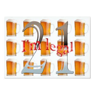 Las tazas de cerveza soy 21ra fiesta de cumpleaños invitación 12,7 x 17,8 cm