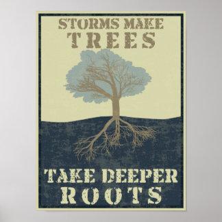Las tormentas hacen que los árboles toman raíces m póster