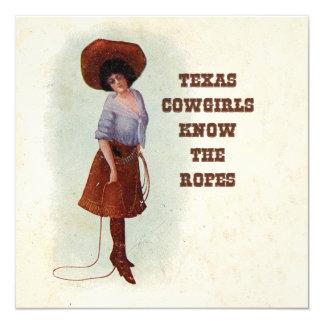 Las vaqueras de Tejas saben la tarjeta de la Invitación 13,3 Cm X 13,3cm