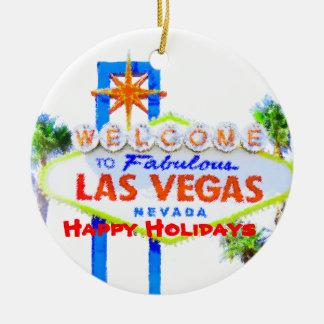 Las Vegas buenas fiestas Adorno Redondo De Cerámica