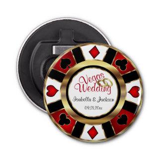 Las Vegas diseñó el boda - oro, blanco y rojo Abrebotellas Redondo