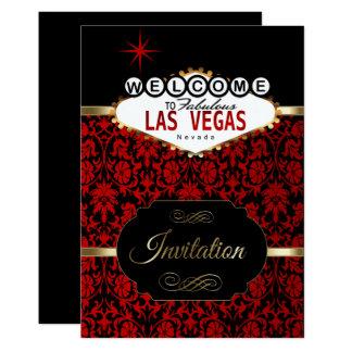 Las Vegas en la invitación roja del fiesta del