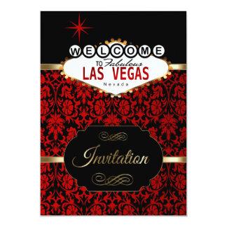 Las Vegas en plantilla roja del fiesta del damasco Invitación 12,7 X 17,8 Cm
