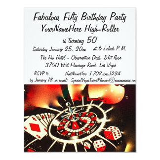 Las Vegas fabuloso celebración de 50 cumpleaños Invitación 10,8 X 13,9 Cm