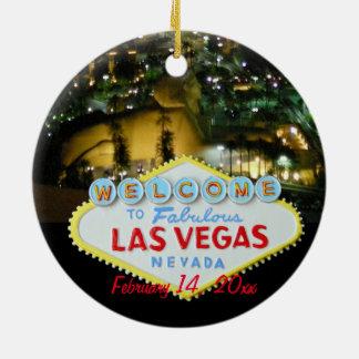 Las Vegas que casa la celebración Adorno Redondo De Cerámica