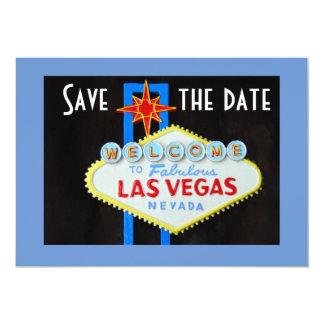 Las Vegas que casa reserva el azul de la fecha Invitación 12,7 X 17,8 Cm
