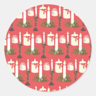 Las velas festivas imprimen rojo pegatina redonda