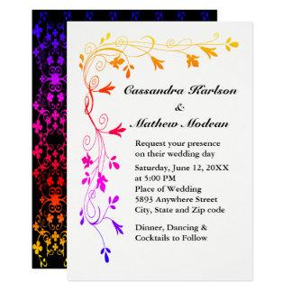 Las vides florales coloridas con el boda de la invitación 12,7 x 17,8 cm