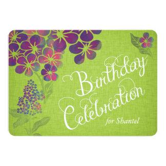Las violetas en cumpleaños de encargo de lino invitación 12,7 x 17,8 cm