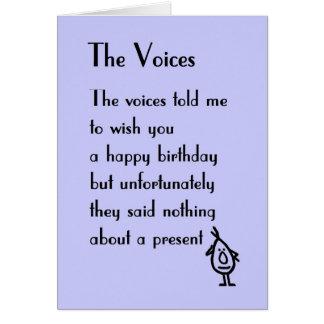 Las voces - un poema del cumpleaños tarjeta de felicitación