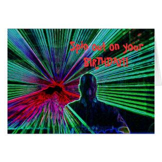Lasers on DJ birthday card