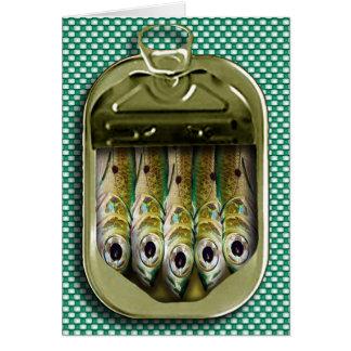 lata de la sardina tarjeta de felicitación