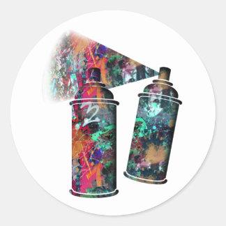 Latas de aerosol de la salpicadura de la pintada y pegatina redonda