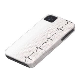 Latido del corazón en el papel cuadriculado, pulso Case-Mate iPhone 4 protectores