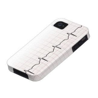 Latido del corazón en el papel cuadriculado, pulso iPhone 4 carcasa