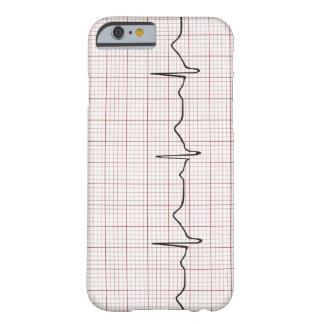 Latido del corazón en el papel cuadriculado, pulso funda de iPhone 6 barely there