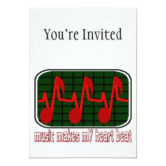 Latido del corazón musical invitación 12,7 x 17,8 cm