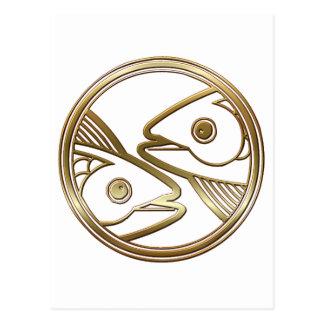 Latón y astrología de cobre del zodiaco de Piscis Postal