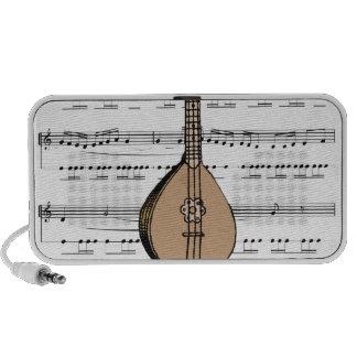 laúd y partitura de la mandolina mp3 altavoces