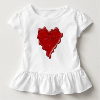 Laura. Sello rojo de la cera del corazón con Laura Camiseta De Bebé