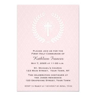 Laurel, cruz, rosa, primera comunión invitación 12,7 x 17,8 cm