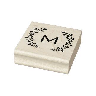 Laurel del monograma sello de caucho