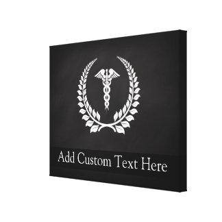 Laurel médico del caduceo impresión en lona estirada