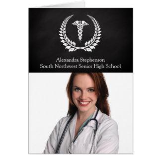 Laurel médico del caduceo tarjeta