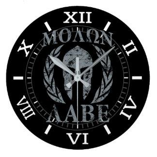 Laureles de la máscara del guerrero de Molon Labe Reloj Redondo Grande