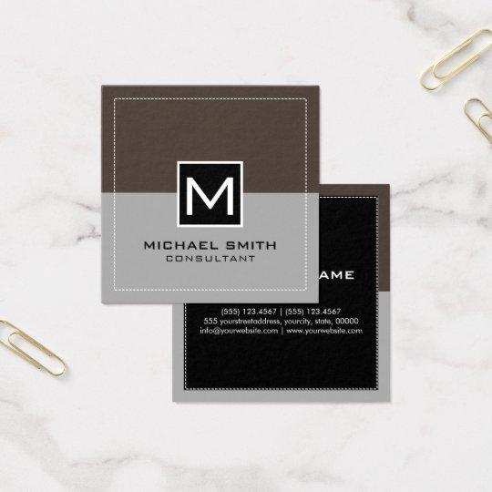 Lava gris moderna elegante del monograma tarjeta de visita cuadrada