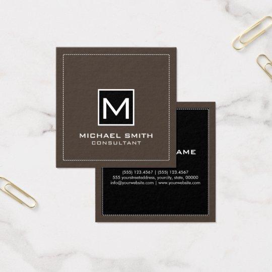 Lava negra moderna elegante del monograma tarjeta de visita cuadrada