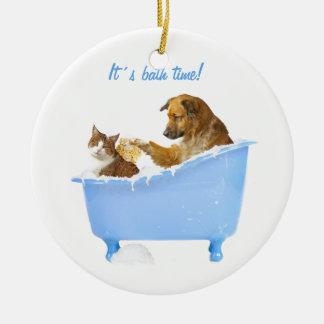 Lavado del gato adornos de navidad