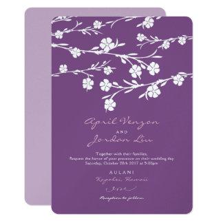 Lavanda del ciruelo de las flores blancas de la invitación 12,7 x 17,8 cm