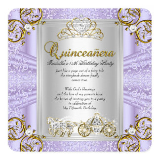 Lavanda del cumpleaños de Quinceanera del cuento Invitación 13,3 Cm X 13,3cm